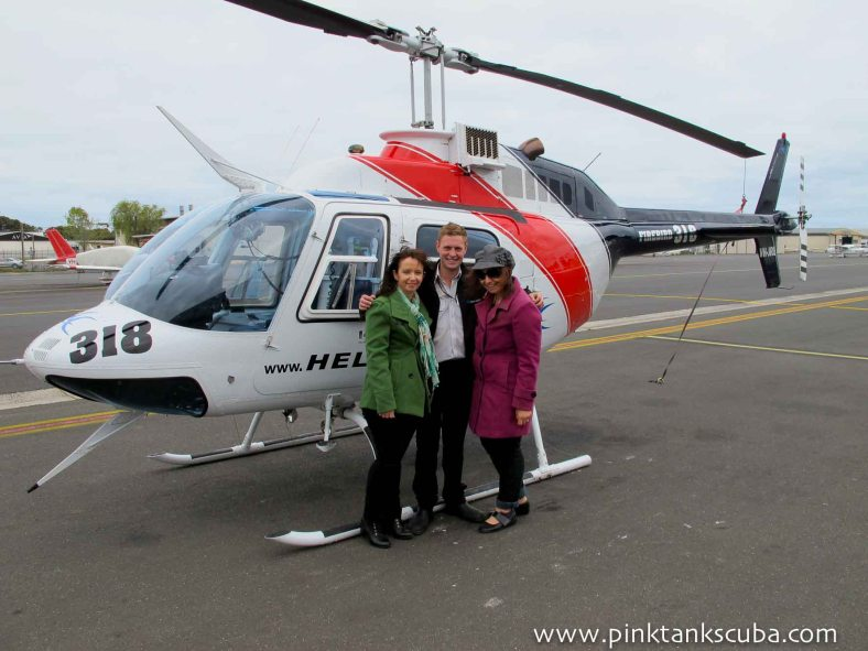 in front of helicopter